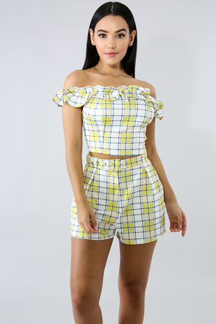 Plaid Ruffled Short Set