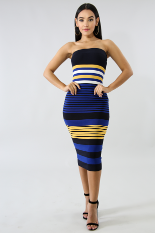 Knit Tube Stripe Midi Dress
