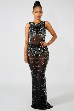 Splash Rhinestone Sheer Dress