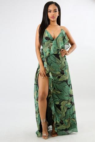 Ruffled Palms Slit Maxi Dress