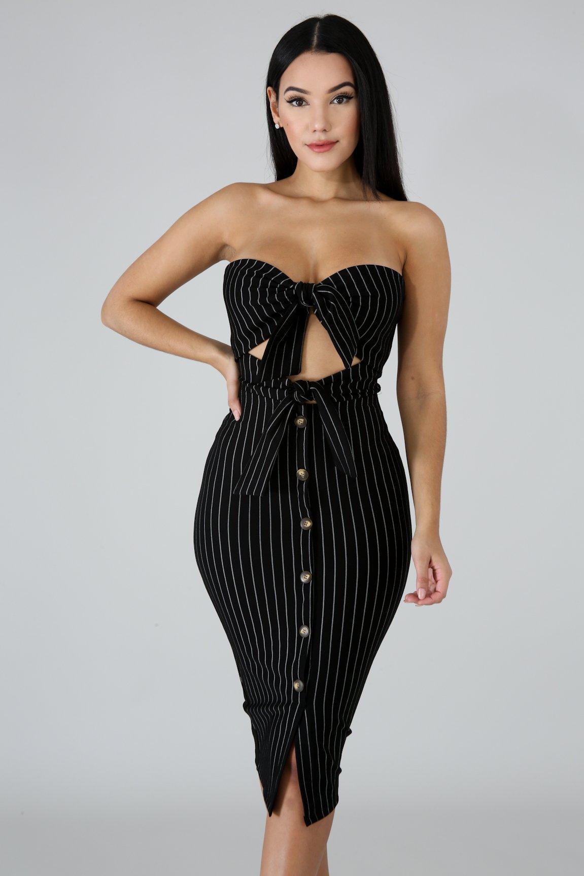 Tux Tube Body-Con Dress