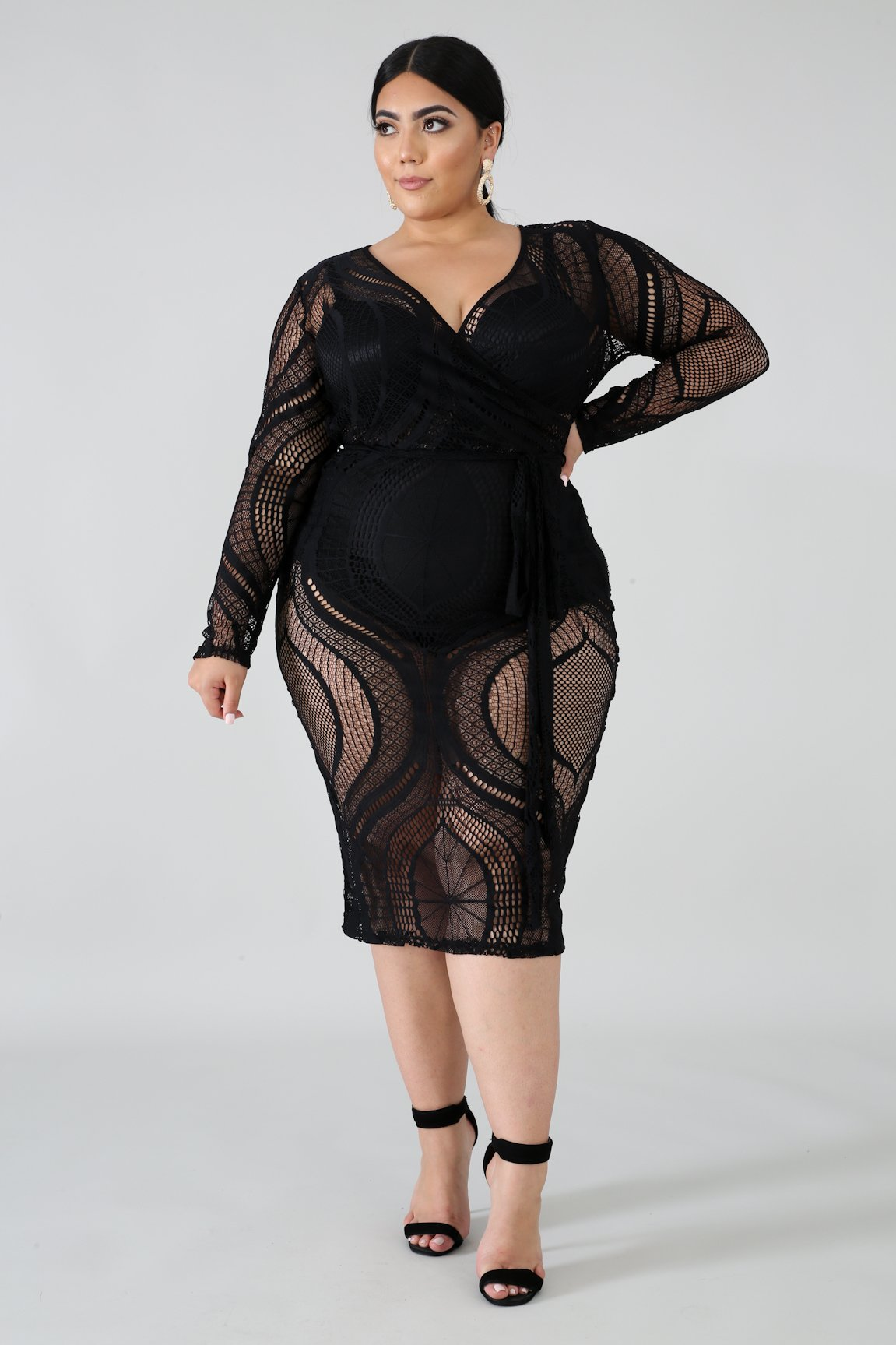 Sheer Lace Body-Con Dress
