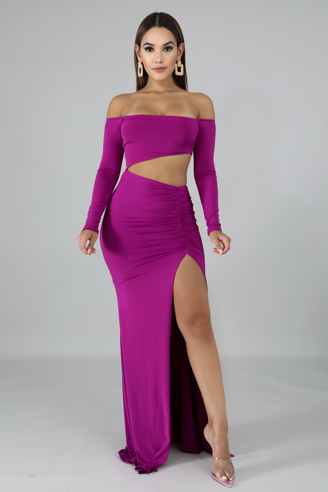 Cut Out Scrunched Mermaid Dress