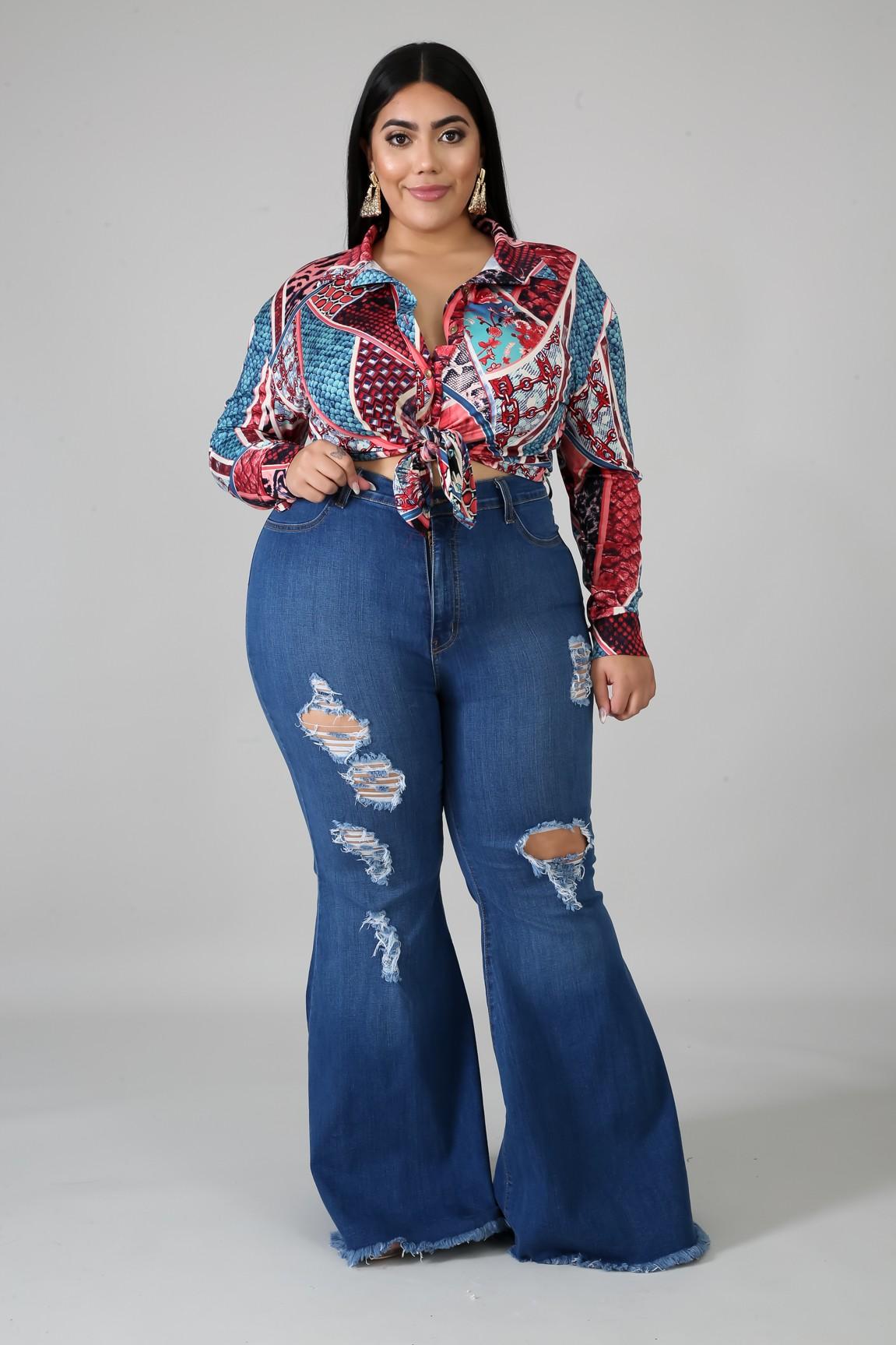 Denim Raw Flare Jeans