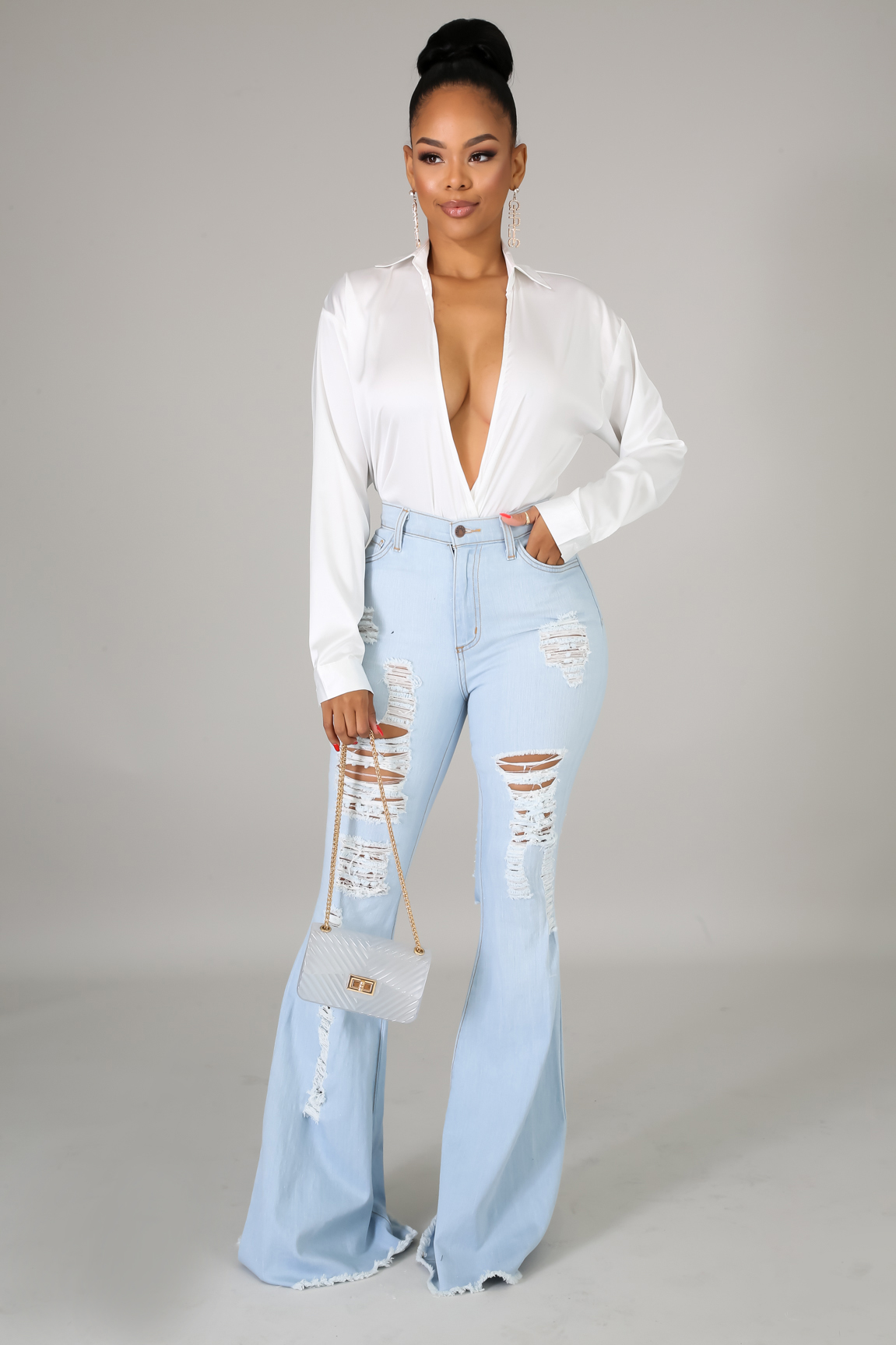 Raw Shred Bell Bottoms Jeans