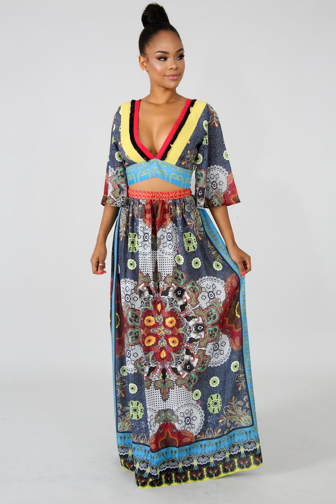 Bardot Maxi Skirt Set