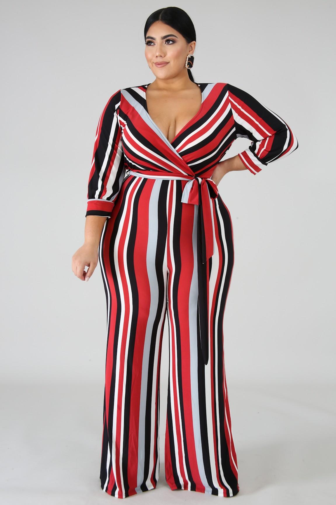 Striped Plus Size Jumpsuit
