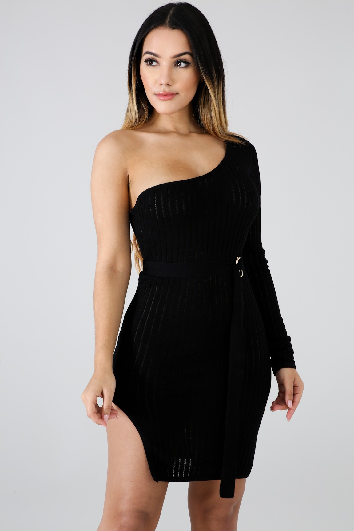 Knit One Shoulder Dress