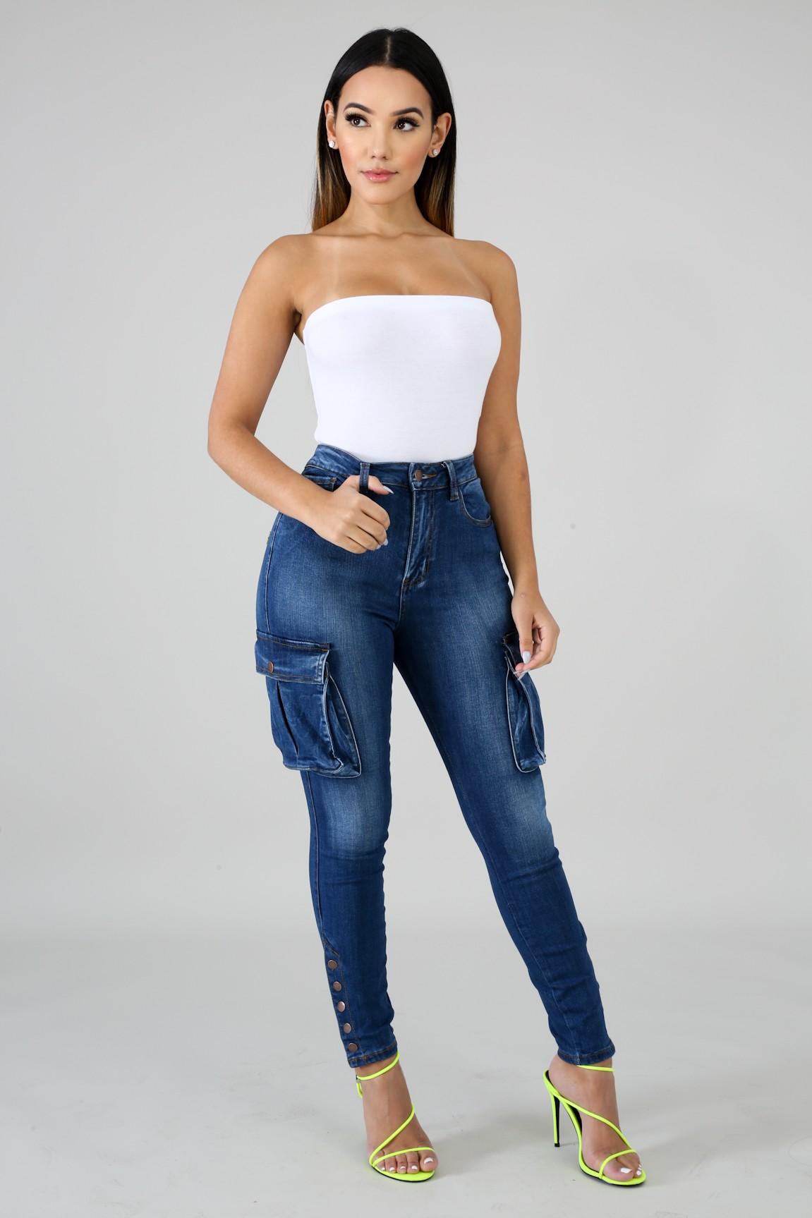 Denim Cargo Jeans