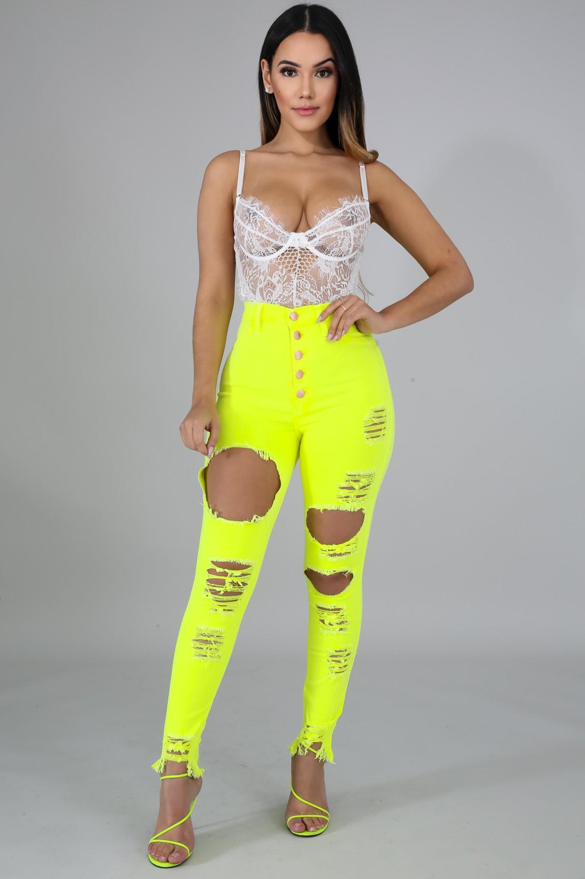 Neon Vibrant Distressed Jeans
