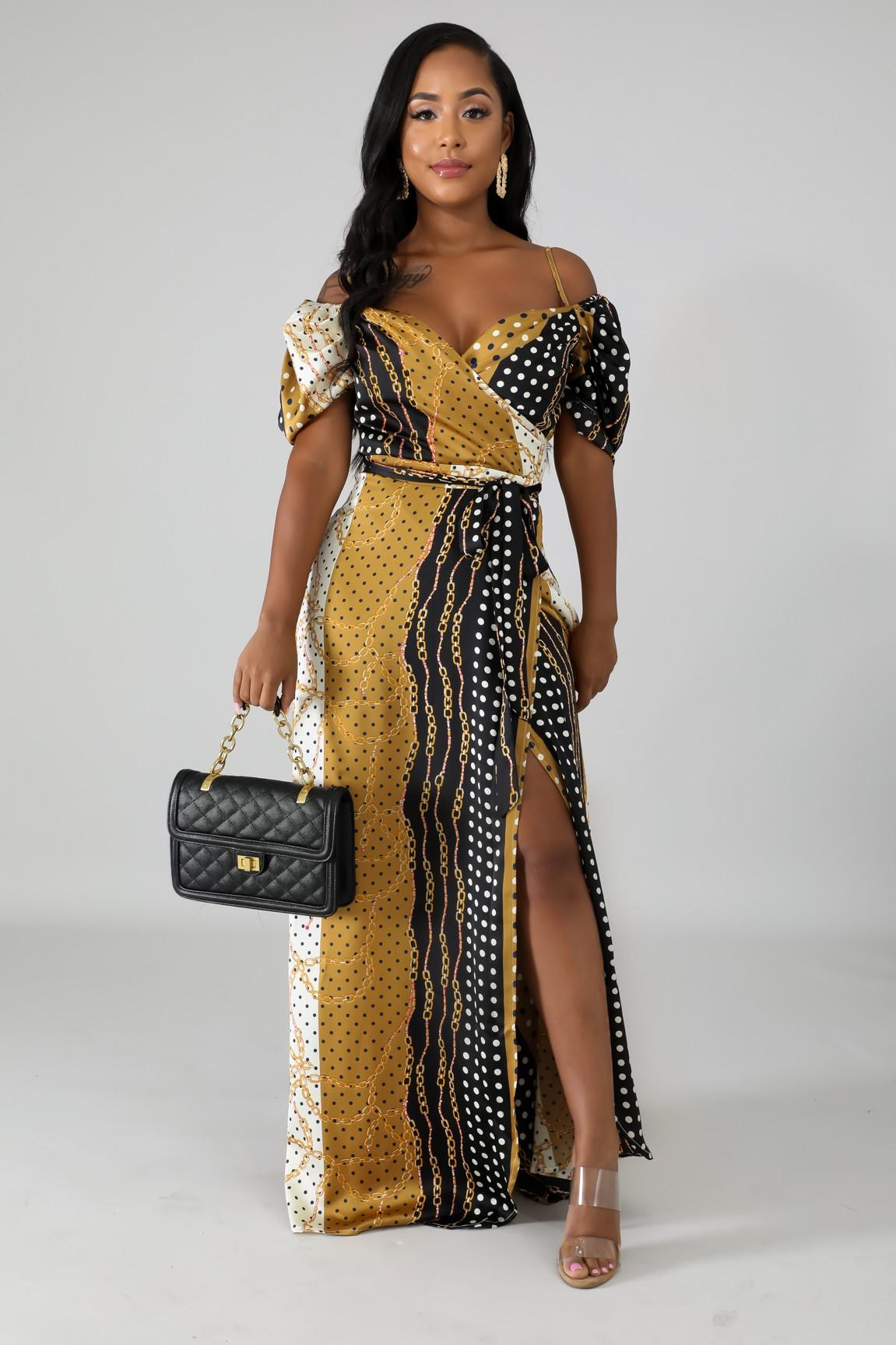 Polka Dot Chains Maxi Dress