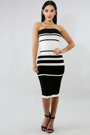 Tube Striped Knit Body-Con Dress
