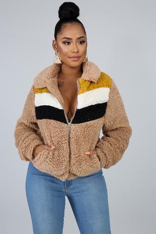 Chevron Fuzzy Jacket