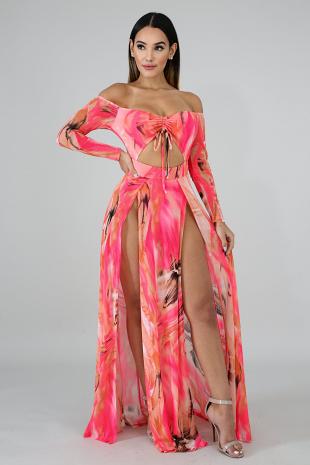 Sheer Strokes Body-Con Dress