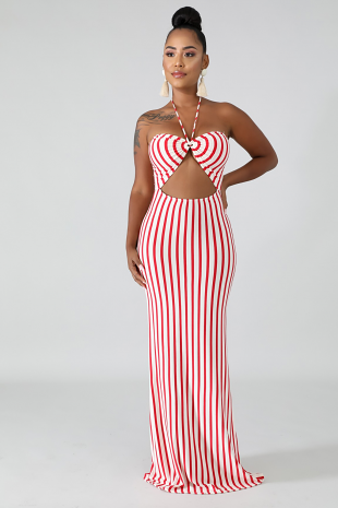 Glam Stripe Mermaid Dress