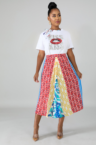 Pleated Pattern Skirt
