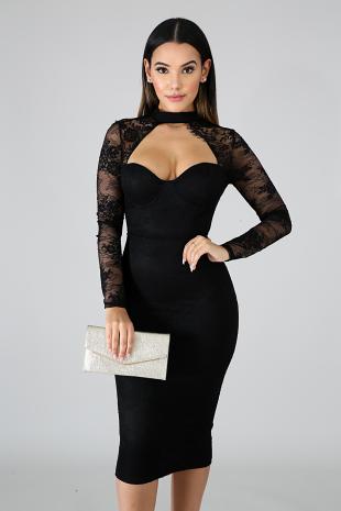 Lace Choker Midi Dress
