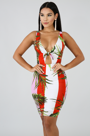 Palmeras Knot Body-Con Dress