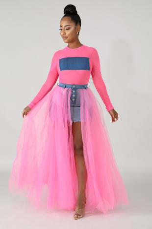 Raw Tulle Denim Maxi Skirt