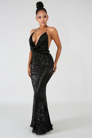 Sequin Drape Maxi Dress