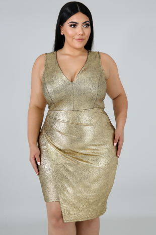 Gold Specs Body-Con Dress