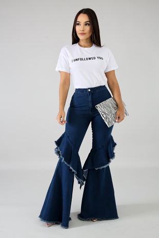 Shredded Bell Flare Denim Jeans