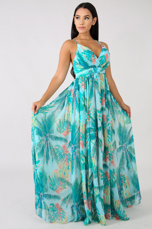 Water Palms Maxi Dress