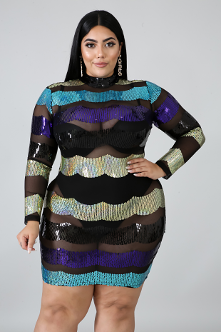 Sequin Waves Body-Con Dress