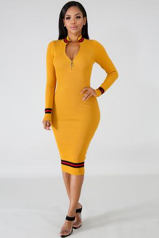Knit Lit Midi Body-Con Dress
