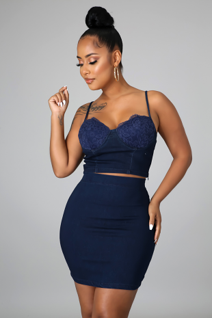Denim Desires Skirt Set