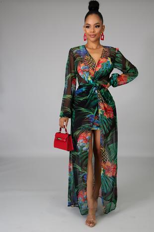 Vivid Floral Maxi Dress