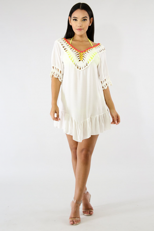 Crochet Color Tassel Top