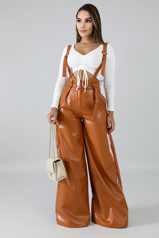Leatherette Boxy Pants
