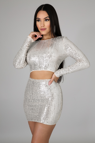 Sequin Fall Skirt Set