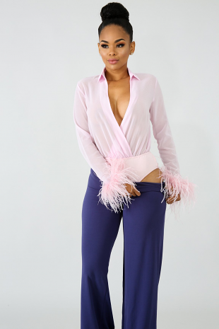 Feather Sheer Bodysuit