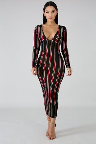 Sleek Stripe Midi Dress