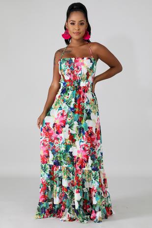 Accordion Tropical Maxi Dress