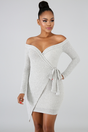 Wrap Knitted Body-Con Dress