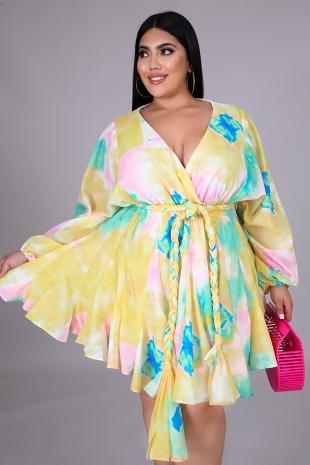 Sweet Tie Dye Flare Dress