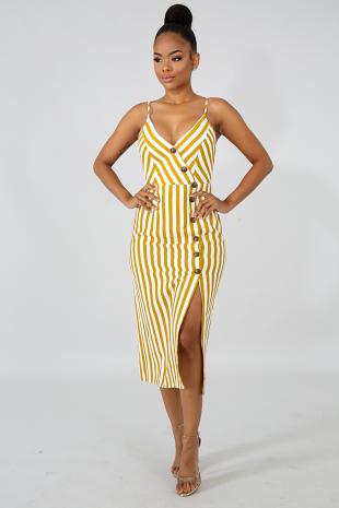 Button Stripe Cottage Dress