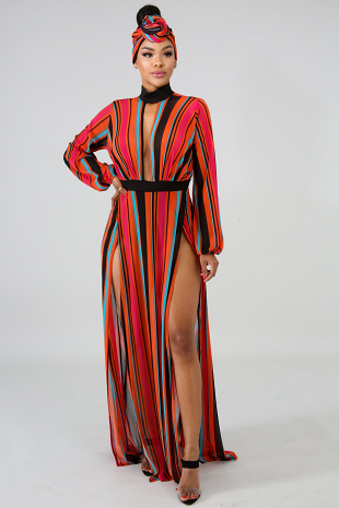 Vibrant Sheer Slit Dress