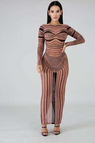 Swirl Sheer Mermaid Dress