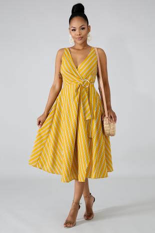 Wrap Stripe Flare Dress