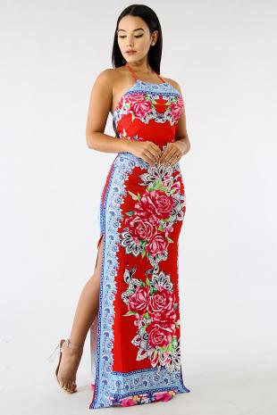 Floral Slit Maxi Bandanna Dress