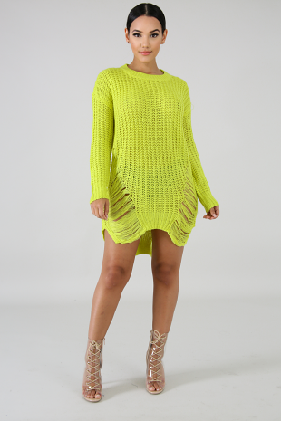 Shredded Sweater Dress