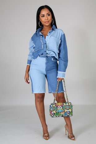 Undecided Denim Short Set