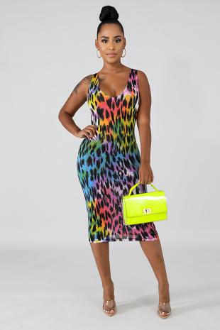 Fierce Spots Midi Dress