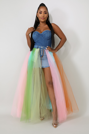 Color Tulle Denim Maxi Skirt