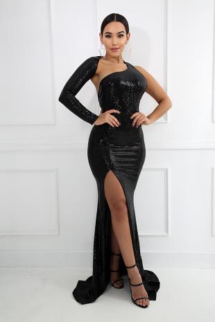 Sequin Slit Mermaid Dress