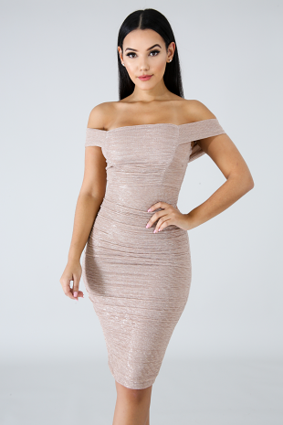 Ruched Shine Body-Con Dress